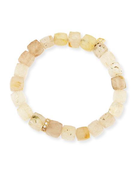 Sydney Evan 8mm Cubed Rutilated Quartz Beaded Bracelet