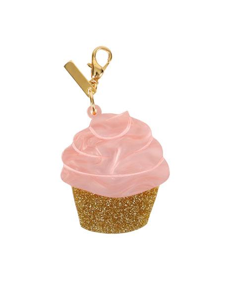 Glittered Cupcake Bag Charm, Pink