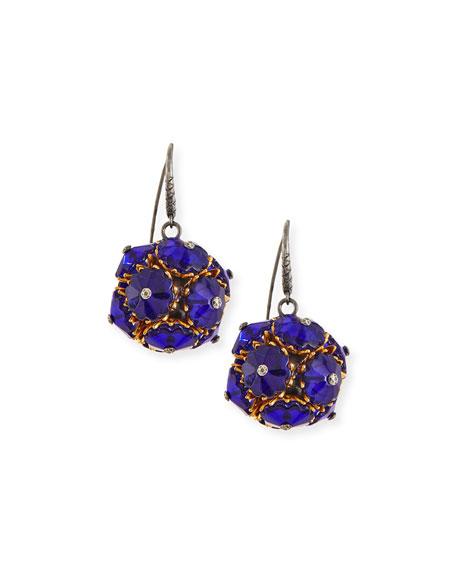 Floral Ball Drop Earrings, Blue
