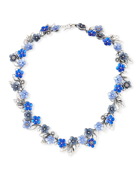 Floral Collar Necklace, Blue