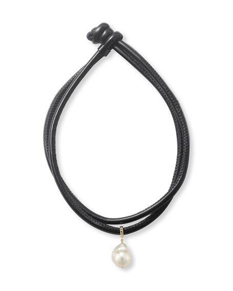 Convertible Leather Wrap Bracelet/Choker with Pearl Slider