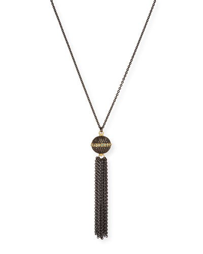 Old World Pavé Diamond Ball Tassel Necklace
