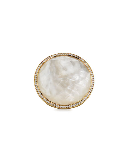 Ippolita Lollipop 18k Mother-of-Pearl & Diamond Cocktail Ring,