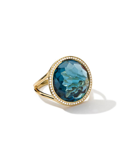 18k Gold Rock Candy Lollipop Ring in Blue Topaz with DIamonds