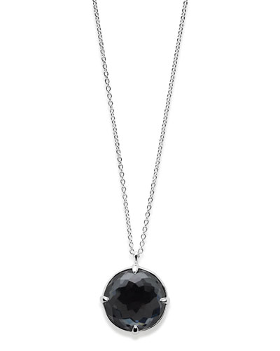 Rock Candy Silver Pendant Necklace in Hematite Doublet  31