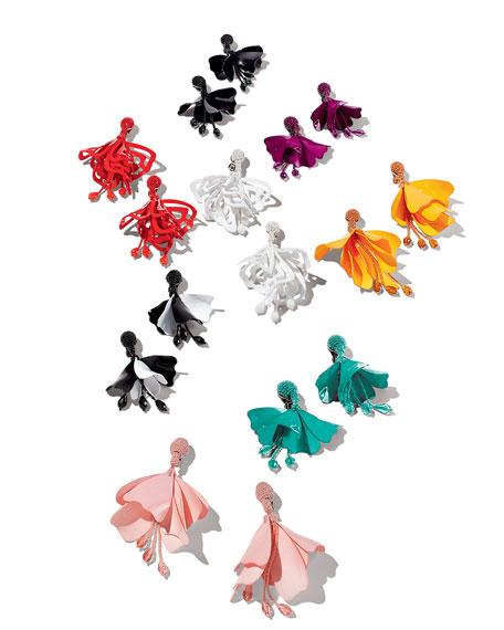 Large Lace Impatiens Flower Drop Earrings