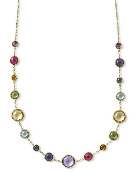 """18k Gold Lollitini Multi-Stone Necklace, 18""""L"""