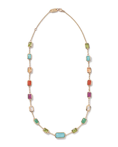 18k Gold Rock Candy Multi-Stone Necklace  18L