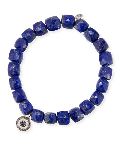8mm Cubed Lapis Beaded Bracelet with Concentric Eye Charm