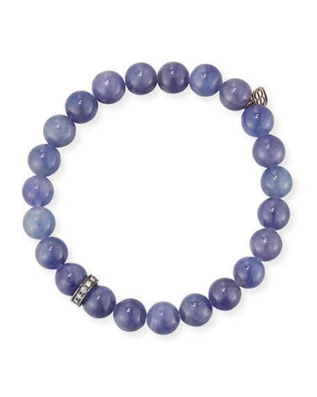 8mm Iolite Beaded Bracelet with Diamond Rondelle