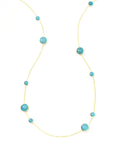 Gold Rock Candy Lollipop Station Necklace  Turquoise