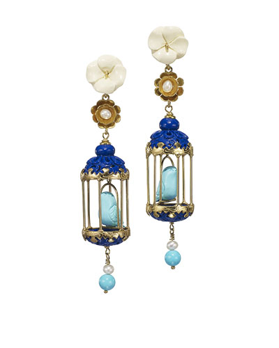 Aviary Carved Bone Drop Earrings  Blue/Turquoise