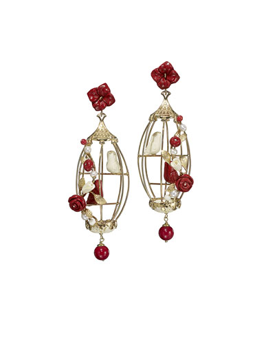 Lovebirds Carved Bone Drop Earrings, Red/White