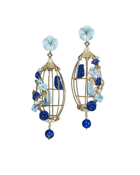 Lovebirds Lapis & Turquoise Drop Earrings