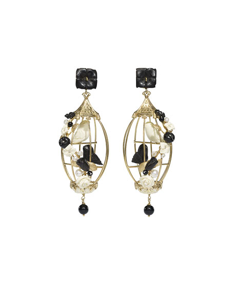 Of Rare Origin Lovebirds Onyx Drop Earrings, Black/White