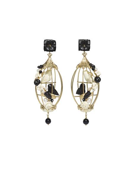 Lovebirds Onyx Drop Earrings, Black/White