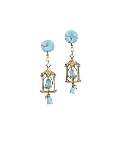 Pagoda Turquoise Drop Earrings