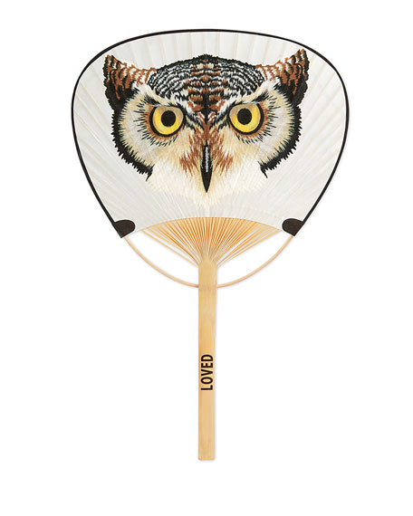 Paper Fan with Owl Print