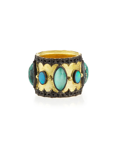 Green Turquoise & Opal Band Ring  Size 6.5