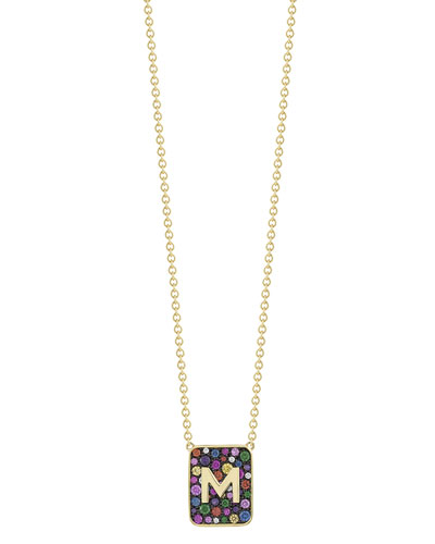 Personalized Mixed Stone & Diamond Tablet Necklace in 18K Gold