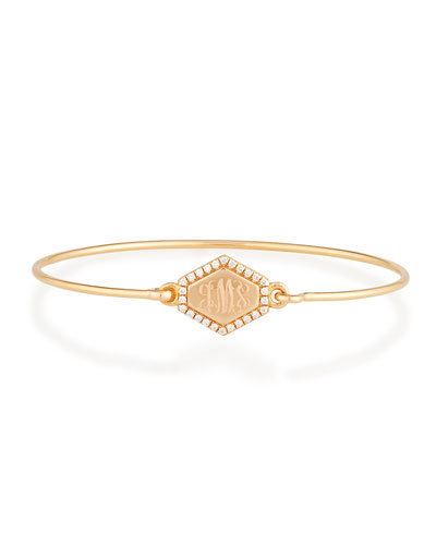 Personalized Prive Hexagon Bangle with Diamonds