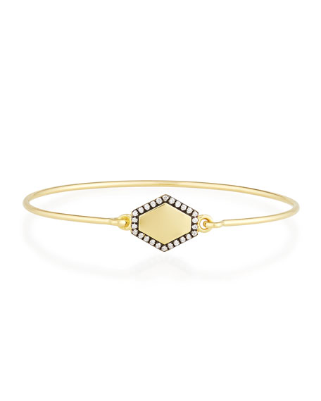 Personalized Prive Hexagon Bangle with Diamonds in 18K Gold