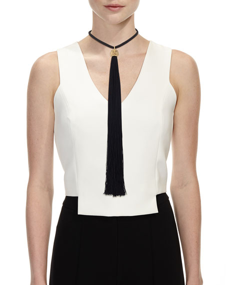 Loulou Long Tassel Collar Necklace, Black