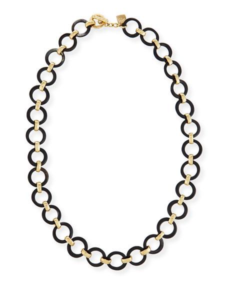 Mtego Round Dark Horn Link Necklace