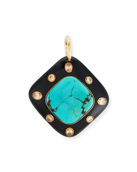Ashley Pittman Aulu Dark Horn & Turquoise Pendant