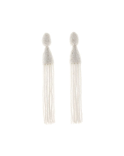 Long Beaded Tassel Clip-On Earrings, White