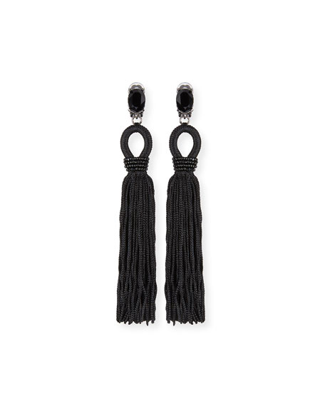 Oscar de la Renta Long Crystal Loop Tassel