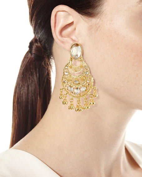 Golden Crystal Filigree Drop Earrings