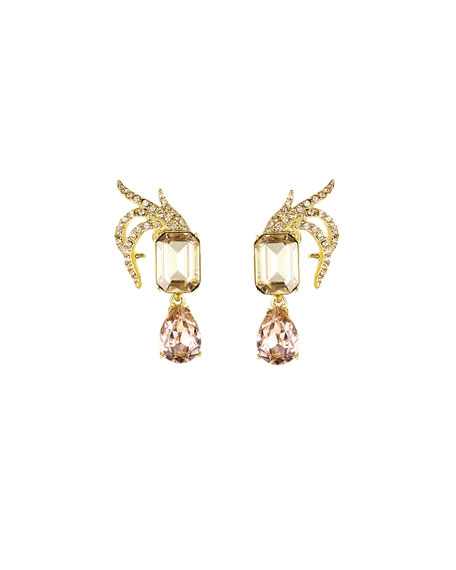 Pave Crystal Leaf Clip Earrings