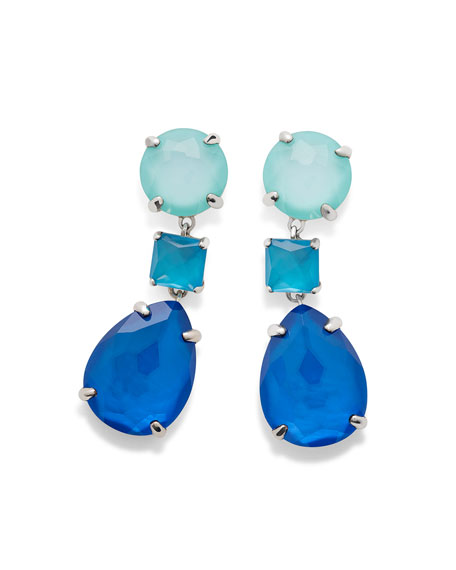 925 Wonderland Three-Drop Earrings, Bright Blue