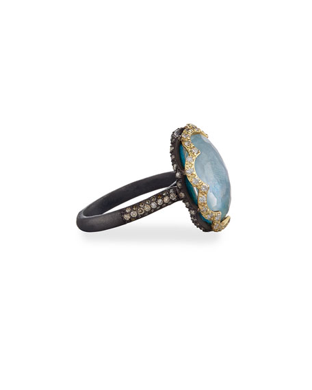 Old World Scalloped Peruvian Opal Triplet Ring with Diamonds, Size 6.5