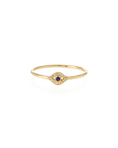 14k Gold Small Diamond Evil Eye Ring, Size 6.5