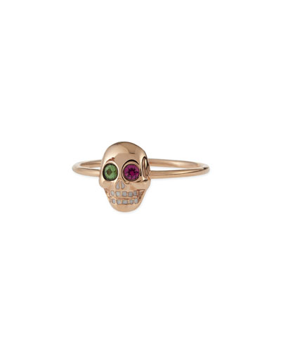 14k Rose Gold Skull Ring with Ruby & Garnet