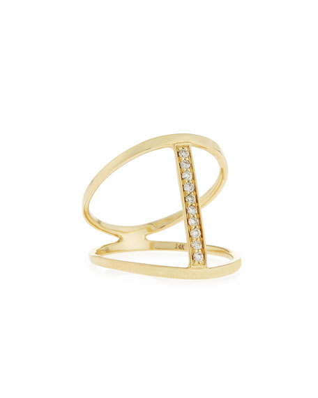 Split Pavé Diamond Bar Ring