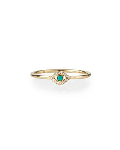 Single Turquoise Cabochon Evil Eye Ring w/Diamonds