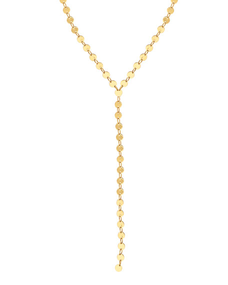 LANA 14k Elite Mirror Disc Lariat Necklace