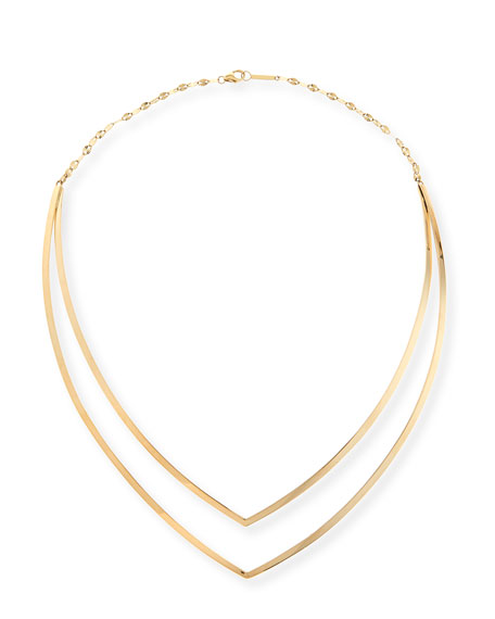 14K Yellow Gold V Choker Necklace