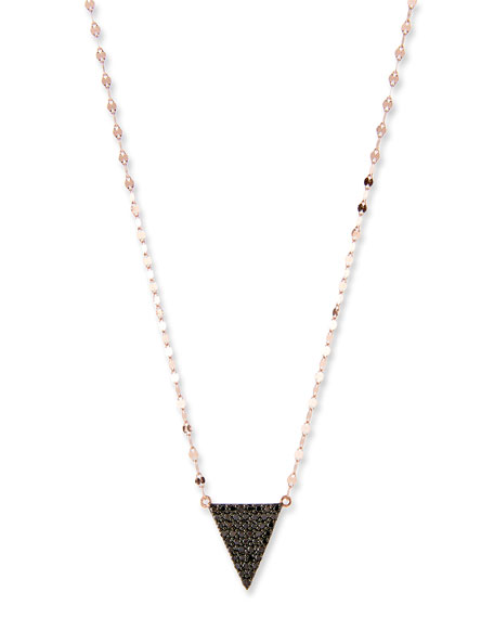 Reckless Black Diamond Triangle Necklace in 14K Rose Gold