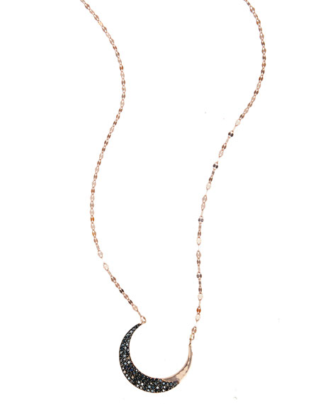 Reckless Black Diamond Crescent Necklace in 14K Rose Gold