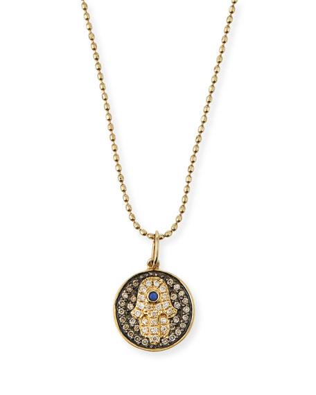 Small Diamond Hamsa Necklace w/Blue Sapphire