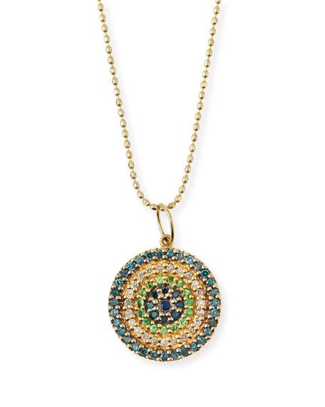 Concentric Eye Diamond & Sapphire Necklace