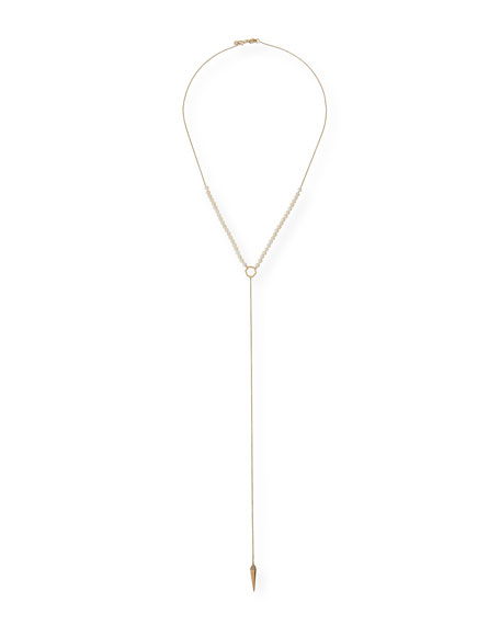 Pearl-Beaded Lariat Necklace