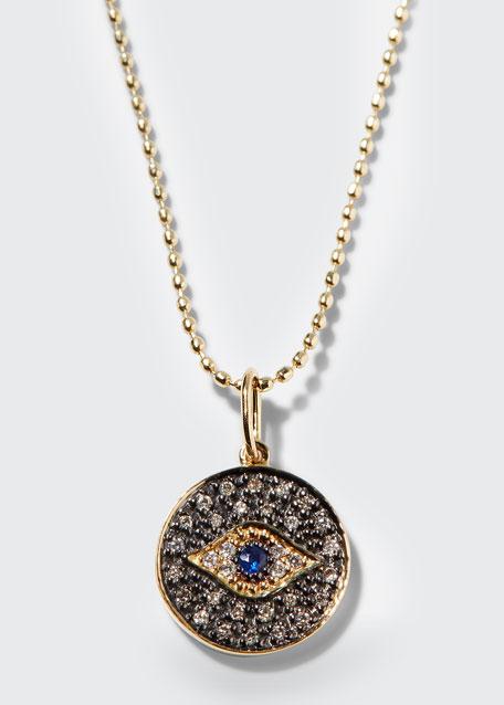 Small Diamond Evil Eye Medallion Necklace