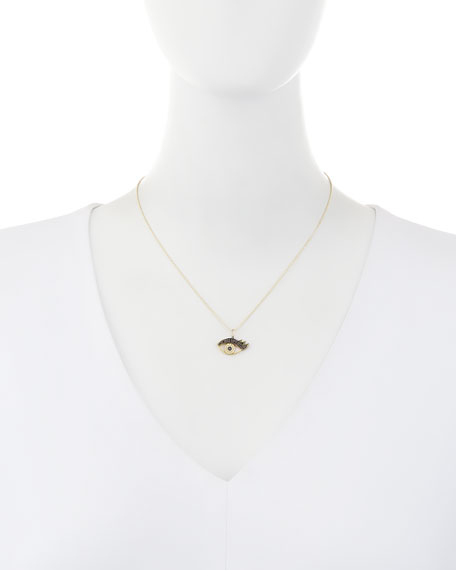 14K Gold Eyelash Eye Pendant Necklace with Diamonds