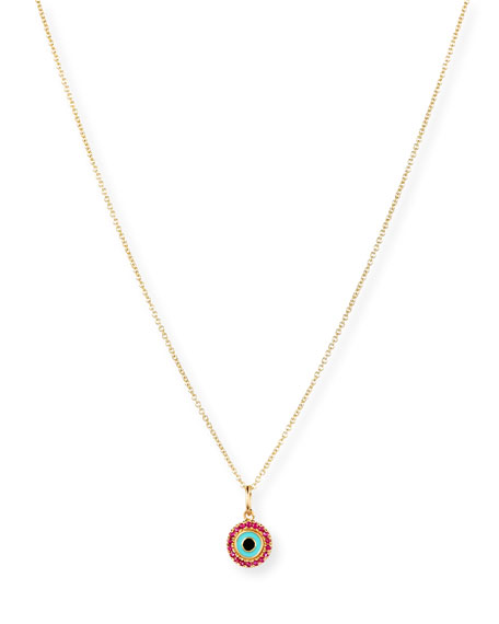 14K Small Enamel Eye Pendant Necklace