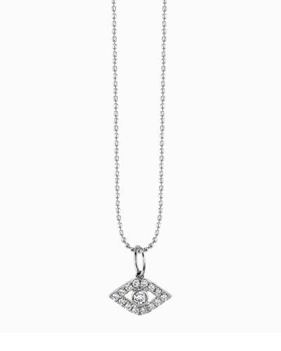 Large Evil Eye Diamond Pendant Necklace